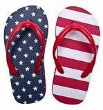 Patriotic Red White and Blue Flip Flop Sandals