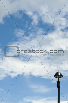 Black Metal Lamp Post on Blue Sky