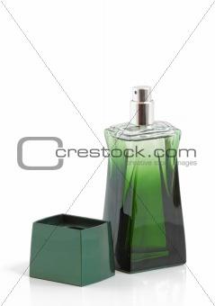green bottle of perfume