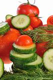 tomatoes, cucumbers and dill