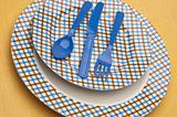 Modern Fun Blue and Brown Place Setting
