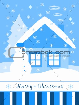 Christmas card with snowman and cottage