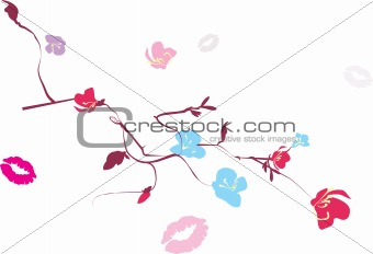 floral branches and traces of kisses