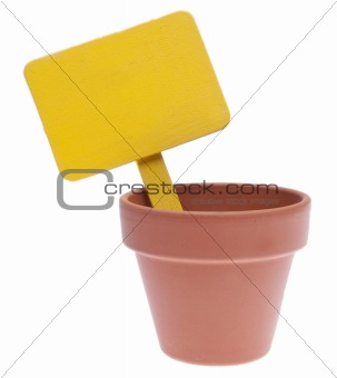 Clay Pot with Blank Yellow Sign