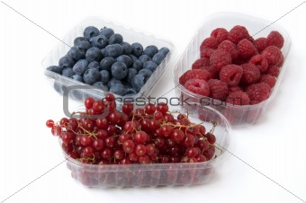 """three baskets of blueberries blackberries and raspberries"""