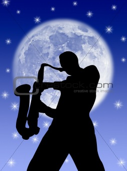 Saxophone player in the moon