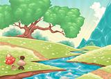 Cartoon landscape with stream.