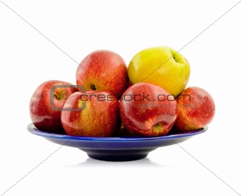 Apples on a blue platter