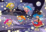 Cartoon landscape with fairies.