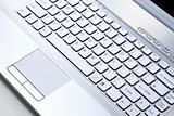 Keypad of Silver metallic notebook computer