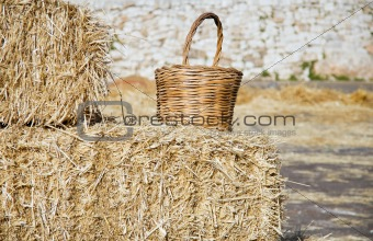 Wicker basket leaning on haistacks bales.