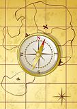 Vector golden compass on old map 