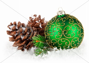 christmas ball with branch firtree