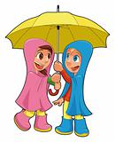 Boy and girl under the umbrella.