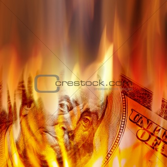 Money Burning in Flames