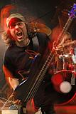 Heavy metal bass guitar player