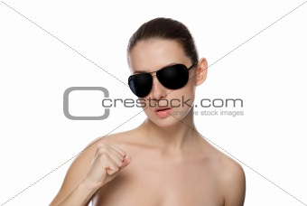 Portrait of glamour woman in sunglasses.