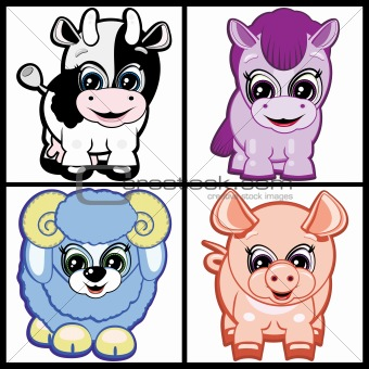 Set of Little Animals - Farm. Vector.