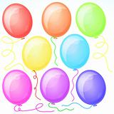 Eight Beautiful Party Balloons. Vector.