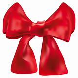 Vector red double bow over white