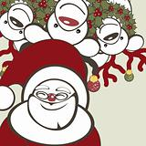 Christmas background with funny reindeers and Santa Claus.