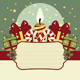 Retro Christmas background with candles, gifts and banner
