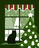 Christmas tree and cat at window