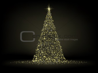 Abstract golden christmas tree. EPS 8