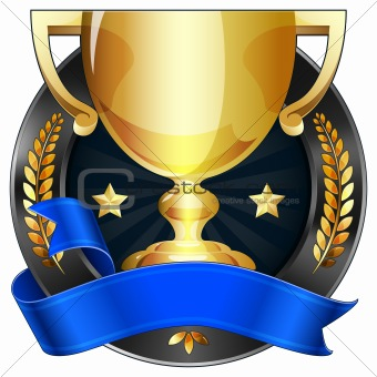 Achievement Award Trophy in Gold with Prize Ribbon