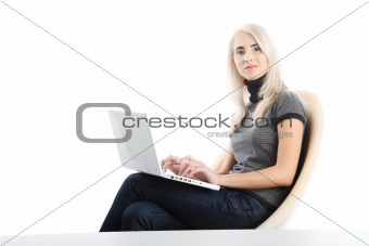 beautiful woman  with laptop