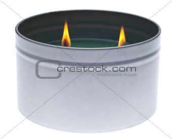 Green Lit Holiday Candle