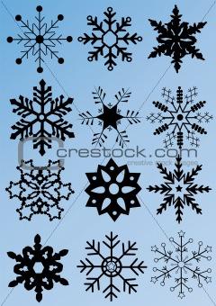 black snowflakes