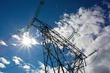 Electricity pylon with sun