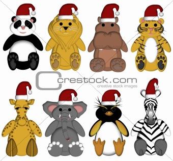 Christmas Wildlife Zoo Animals on White Background
