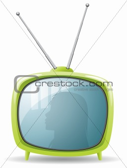 green retro tv set
