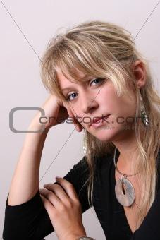 Blond Model in Black
