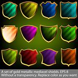 A set of gold metallic mediavel shields. EPS 8