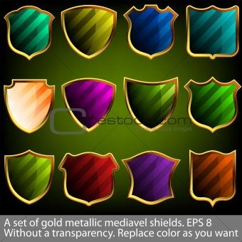 A set of gold metallic mediavel shields. EPS 8