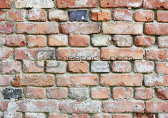 Old dilapidated rough brick wall