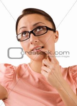 Beautiful girl thinking about something