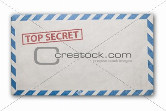 Old top secret envelope isolated.