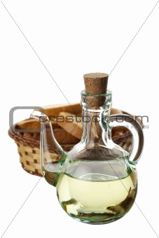 olive oil in a transparent glass and bread
