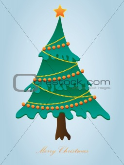 Greeting card for Christmas with a Christmas tree