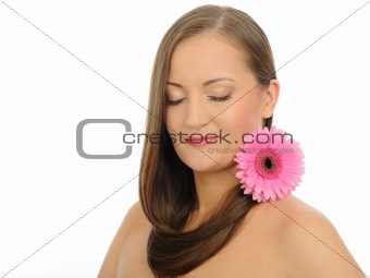 Beautiful woman with long healthy hair and pure skin with a flow