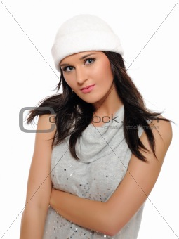 Expressions. Beautiful winter girl in a hat smiling. isolated on