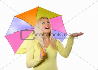 Portrait of pretty autumn woman standing under umbrella. white