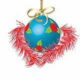 Dark blue New Year's ball. Vector illustration
