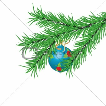 Blue New Year's ball and fur-tree branch.Vector