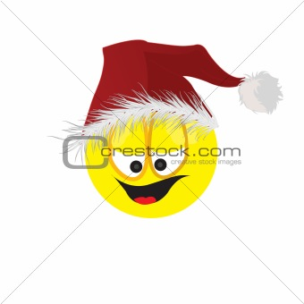 The cheerful person in a cap of Santa Claus. Vector illustration