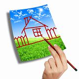 hand drawing a house on the sky